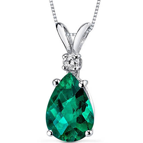 Oravo 1.75 Carat T.G.W. Pear-Shape Created Emerald and Diamond Accent 14kt White Gold Pendant, 18""