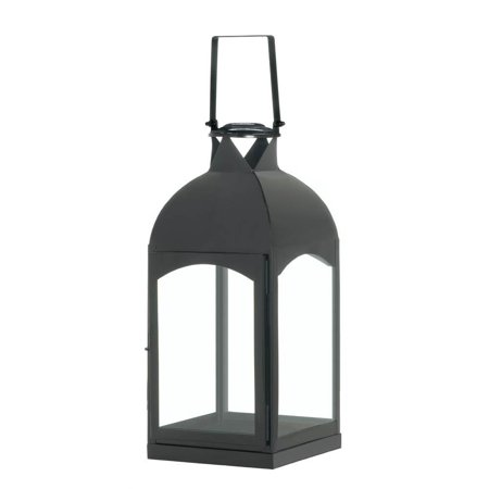 Rustic Candle Lantern, Large Domed Black Decorative Modern Metal Candle Lantern - Large Black Lanterns