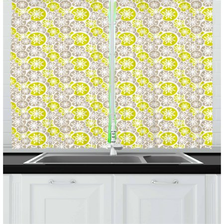 Abstract Curtains 2 Panels Set, Pale Retro Floral Designs in Circles Asian Japanese Inspired Blossom, Window Drapes for Living Room Bedroom, 55W X 39L Inches, Tan Yellow Green White, by Ambesonne