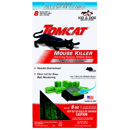 Image of Tomcat Mouse Killer Child and Dog Resistant, Refillable Station (1 Station, 8 Refills)