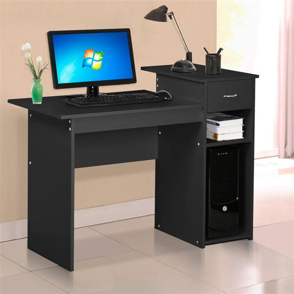 Yaheetech Home Office Small Wood Computer Desk with Drawers and Storage Shelves Workstation Furniture