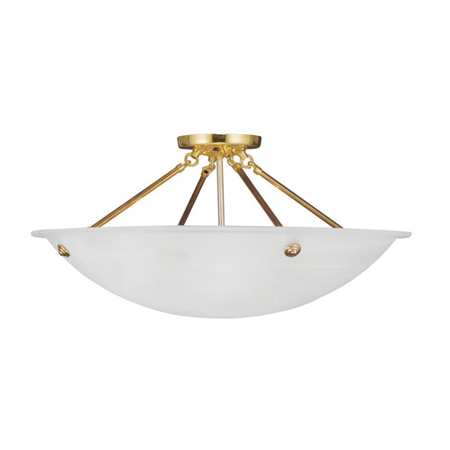 Semi Flush Mounts 4 Light With White Alabaster Glass Polished Brass size 24 in 300 Watts - World of Crystal