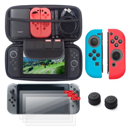 Nintendo Switch 5 Items Starter Kit  By Insten Carrying Case Eva Hard Shell Cover   3 Pack Lcd Film   Joy Con Controller Skin  Left Blue Right Red    Joy Con Thumb Grip Stick Caps For Nintendo Switch
