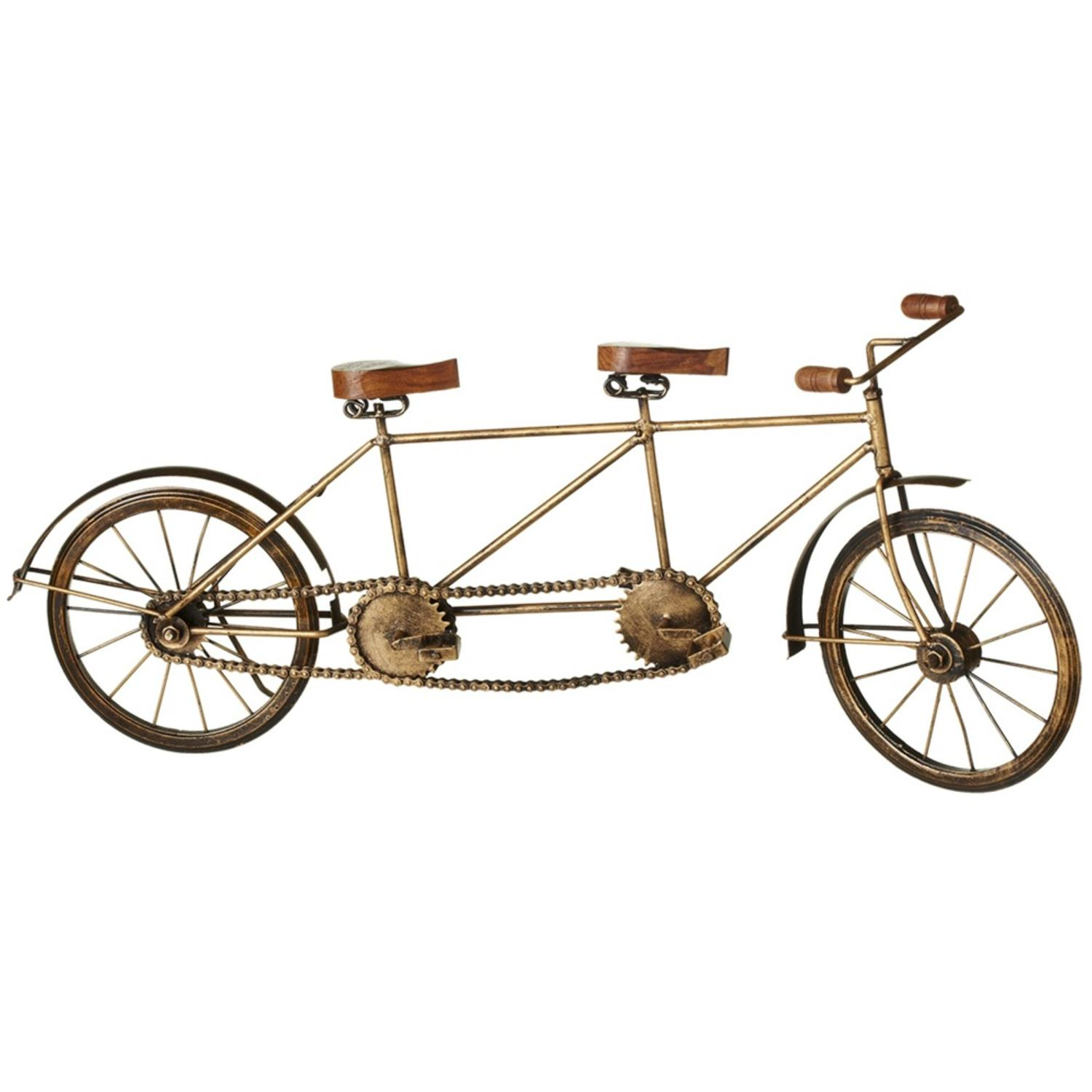 Set of 2 Golden Yellow and Brown Distressed Finish Antique Style Tandem Bicycle 24""