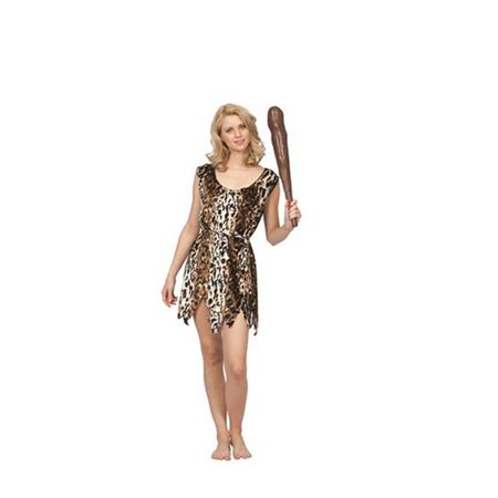 Cheetah Print Costumes (Cave Lady Cheetah Print Velvet Tunic Costume for Adult -)