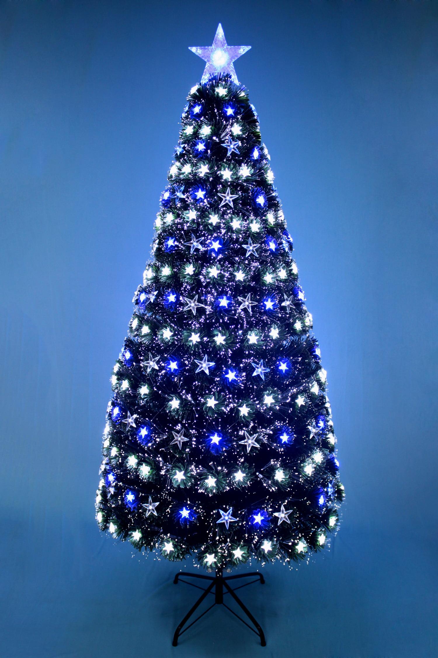 CHRISTMAS TREE FIBER OPTIC BLUE & WHITE STARS - Walmart.com