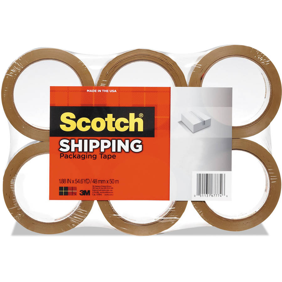 "Scotch 3350 General Purpose Packaging Tape, 1.88"" x 54.6 yds, Tan, 6-Pack"