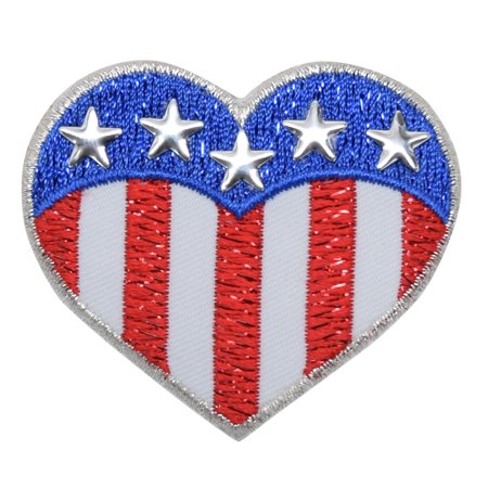 Heart - Patriotic American Flag - Nail head Stars - Embroidered Patch/ Iron on Applique