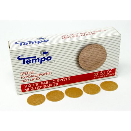 "Adhesive Fabric Spot Bandage 7/8"", Sterile, Non Latex, Hypoallergenic, 100 EA/BX & 60 BX/CS, BAF078, Tempo 7/8in fabric dots are sterile, hypoallergenic.., By Tempo"