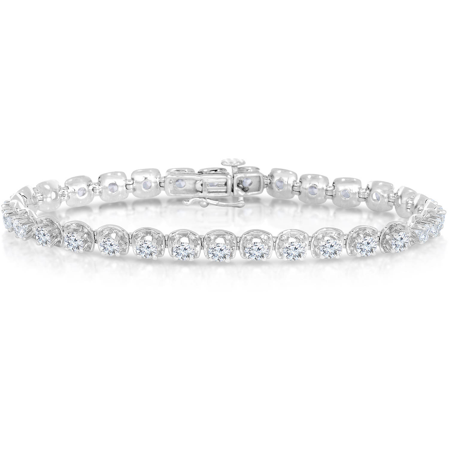 2 Carat T.W. Round-Cut White Diamond 14kt White Gold Bracelet with Reflection Styles Settings by Generic