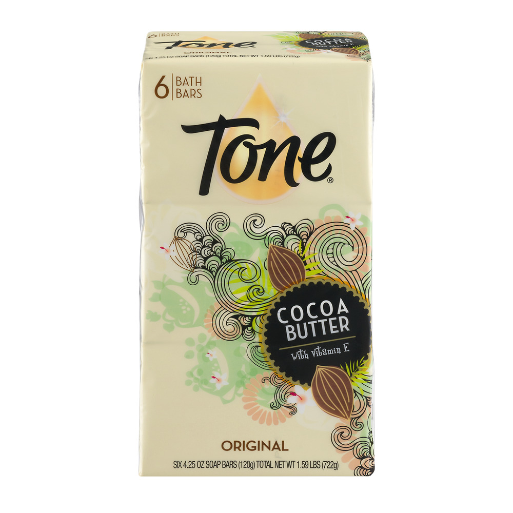 Tone Cocoa Butter with Vitamin E Bath Bars Original - 6 CT