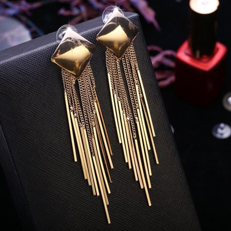 Fashion Exaggerated Long Gold Large Earrings Square Sexy Vintage Tassel Earrings Square Vintage Earrings