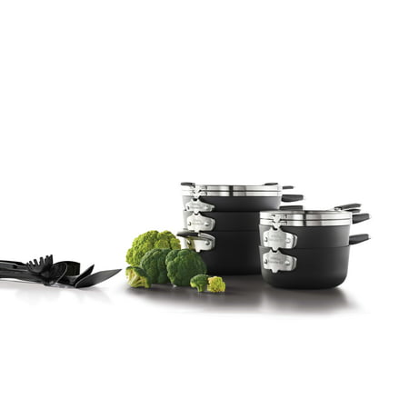 Select by Calphalon Space Saving Hard-Anodized Nonstick Cookware Set, 14 Piece