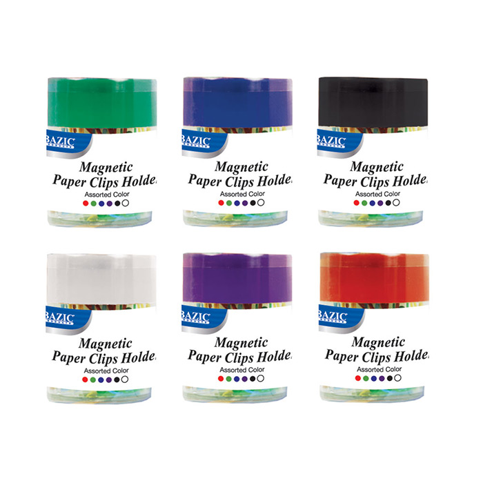 (Price/Case of 24)Bazic Products 242-24 Magnetic Paper Clips Holder W/ 50 Ct. Small Color Paper Clip