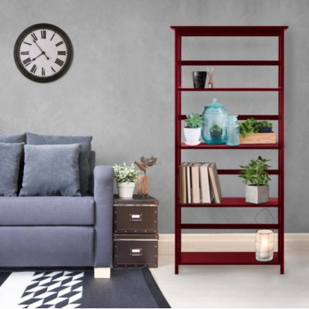Home Office Wooden Bookcase Storage Bookshelf Shelves 4 Tier 60H Cherry
