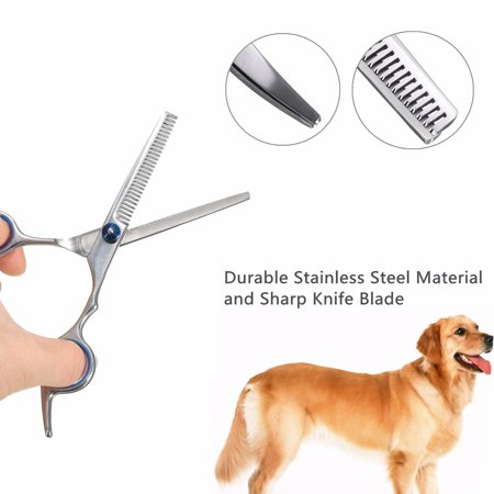 6'' 7 in 1 PET GROOMING SCISSORS SET Professional Dog Cat Trimmer Shears Kit Stainless Steel Cutting/Thinning/Curved Scissor +Comb +Clean Cloth & Scissors Case - image 10 of 17