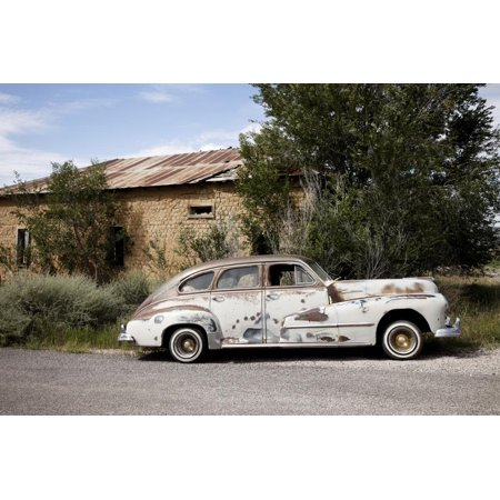 Route 66 Halloween Classic (Old worn classic car parked on the side of the road, New Mexico, Route 66 Print Wall Art By Julien)