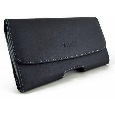 Leather Treo Smartphone - Black Leather Case for Palm Treo 650 700w 700p (Horizontal, Black), Custom made By MyNetDeals,USA