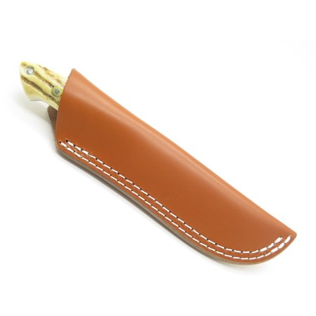 "BROWN LEATHER FIXED 5-6"" BLADE HUNTING KNIFE SHEATH CASE ESEE BUCK LOVELESS"