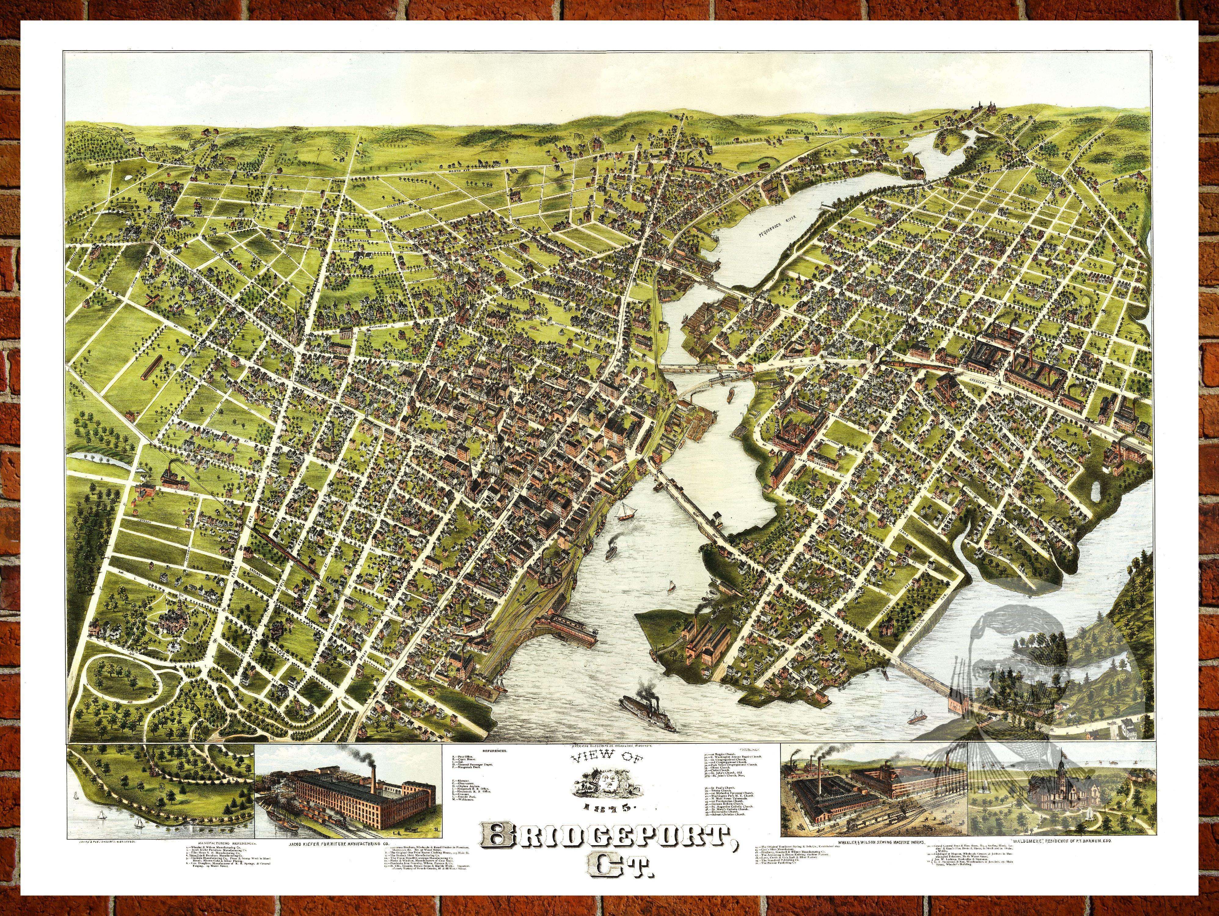 Ted S Vintage Art Map Of Bridgeport Ct 1875 Old Connecticut Decor 24 X 36 Walmart Com Walmart Com