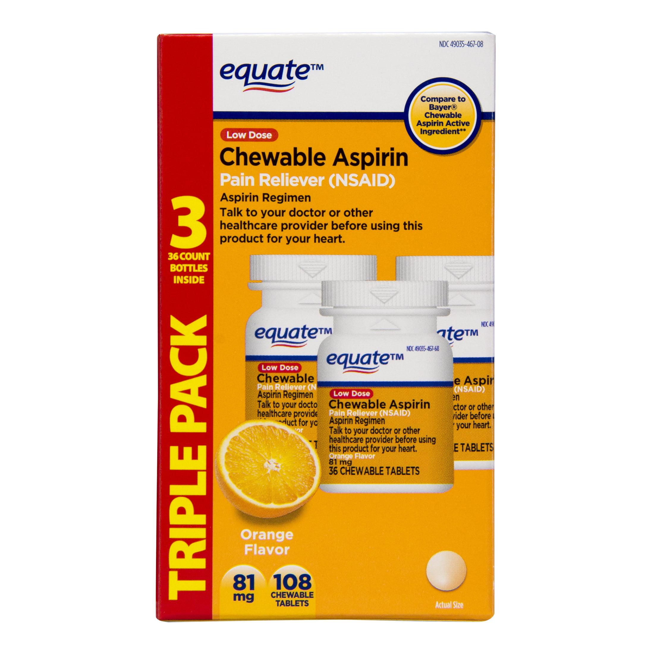 Equate Low Dose Aspirin Orange Chewables, 81 mg, 36 Ct, 3 Pk
