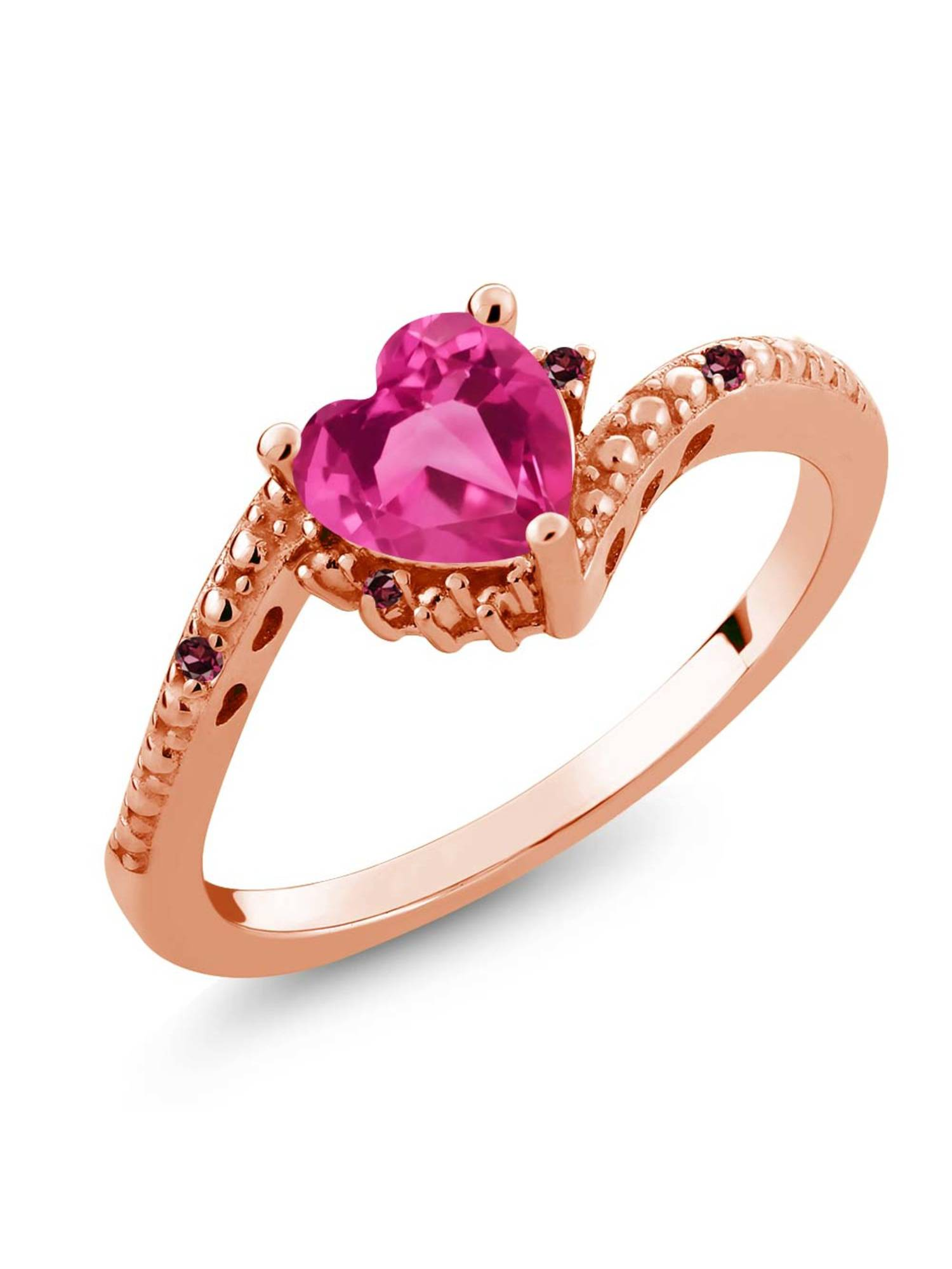 0.83 Ct Pink Created Sapphire Rhodolite Garnet 18K Rose Gold Plated Silver Ring by