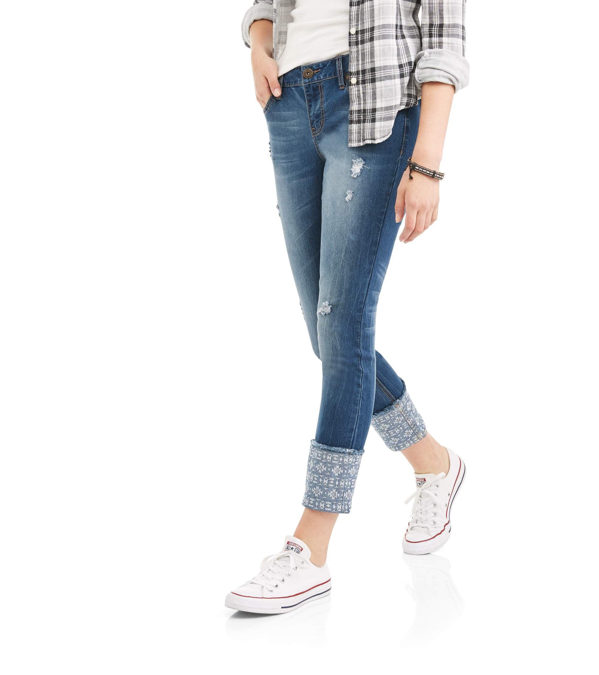 Zanadi Women's Skinny Leg Jeans with Patchwork Detail