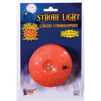 LED Strobe Light Halloween Decoration Whether youre putting together a haunted house or a Halloween rave, this LED Strobe Light is an absolute essential. The durable plastic casing allows strobe to be placed indoors and outside, plus the small size makes it easy to store and set up anywhere. For all of your Halloween costume and decoration needs, shop on our online store!