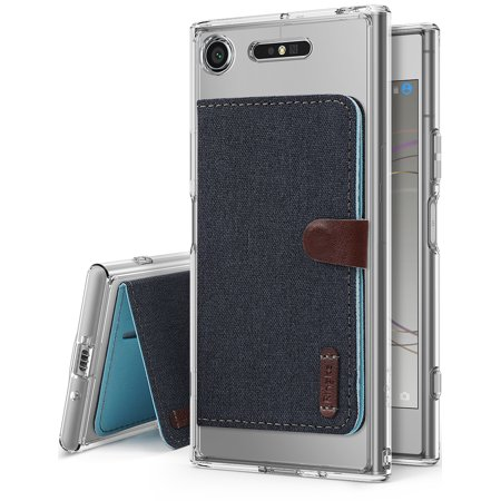 Sony Xperia XZ1 Phone Case [Value Accessory Kit] Ringke FUSION Crystal Clear [Flip Card Holder] Ergonomic Transparent PC Back TPU Bumper Drop Protection - Clear & Navy