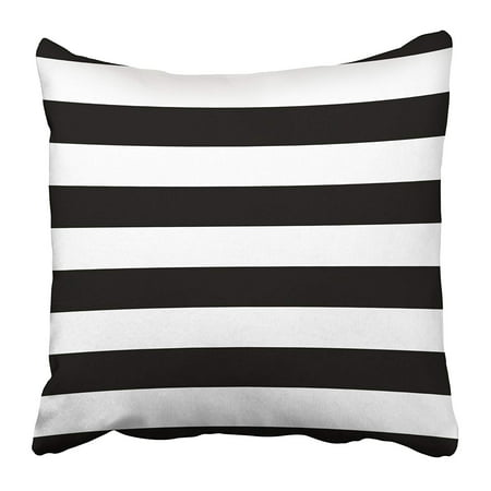 ARHOME Striped with Horizontal Line Black and White Graphics Design Strict Retro Style Pillow Case Cushion Cover 16x16 inch (Link Pillow)