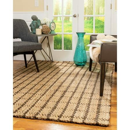 Natural Area Rugs 100% Natural Fiber Handmade Basketweave Chunky Garret Jute Rectangular Rug (6' X 9') Multi-Color ()