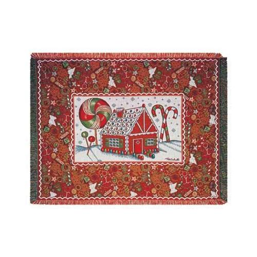 """Colorful Christmas Gingerbread Holiday Tapestry Throw Blanket 50"""" x 60"""""""