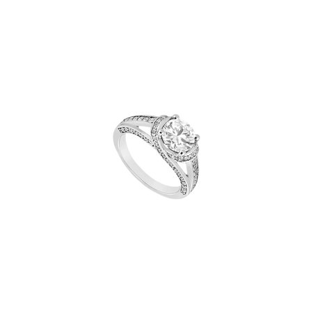1 Carat Engagement Ring in 14K White Gold with Triple AAA Quality Cubic Zirconia - image 2 of 2