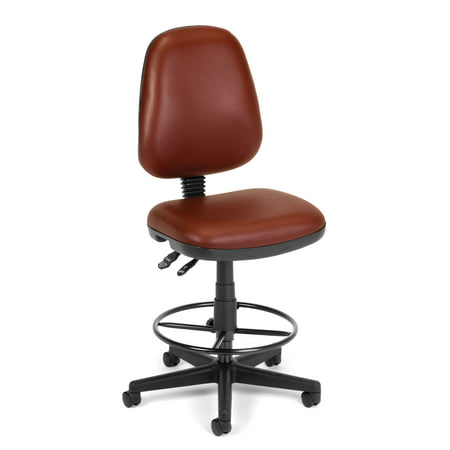 Series 7 Swivel - OFM Straton Series Model 119-VAM-DK Armless Swivel Task Chair with Drafting Kit, Anti-Microbial Vinyl, Wine