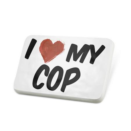 Porcelein Pin I Love my Cop Lapel Badge – NEONBLOND](Cop Badge)