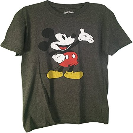 Mickey mouse adult classic t shirt charcoal medium for Adult medium t shirt