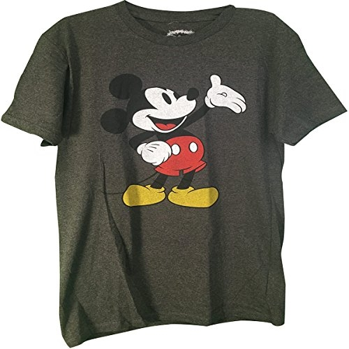 Mickey Mouse Adult Classic T-Shirt Charcoal,Medium