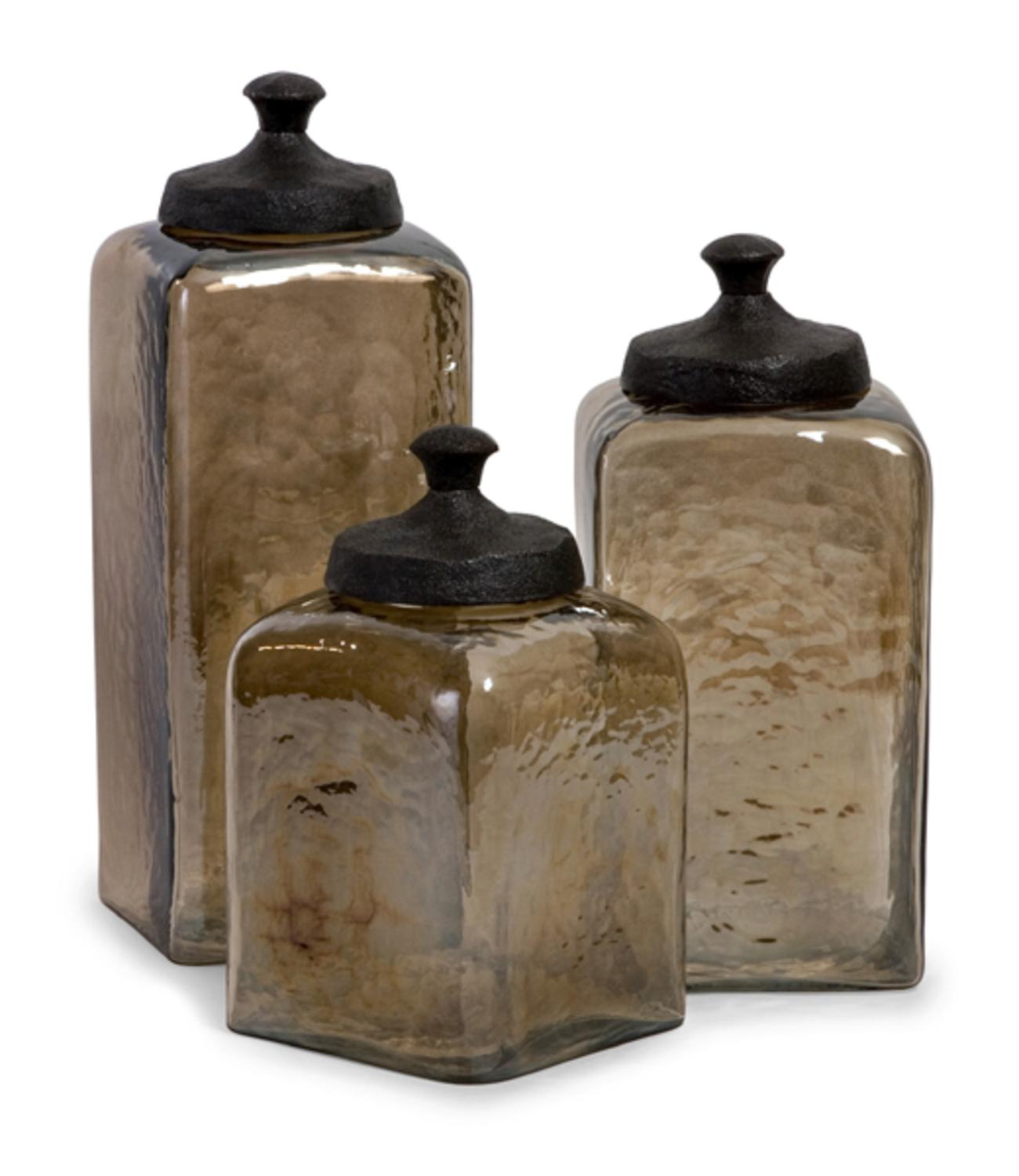 Charmant Set Of 3 Decorative Tan Tinted Square Kitchen Canisters