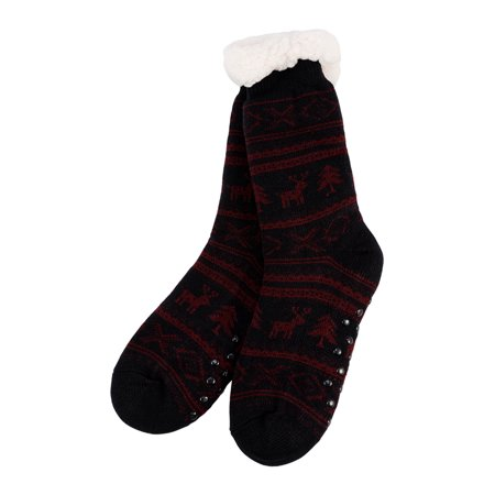 newstar t032mr christmas slipper socks for men mens fleece lining fuzzy soft warm winter socks pink knee highs stockings slipper socks for adultssix - Walmart Christmas Socks