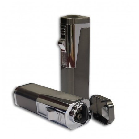 Typhoon Triple Flame Torch Lighter w/ Retractable Bullet Cutter - Gray