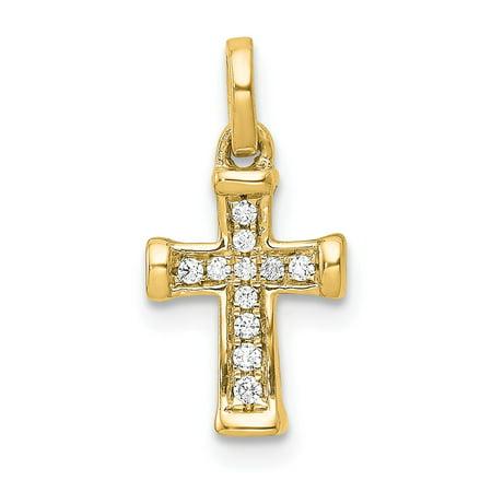Roy Rose Jewelry 14K Yellow Gold Small Diamond Latin Cross Pendant 1/20-Carat