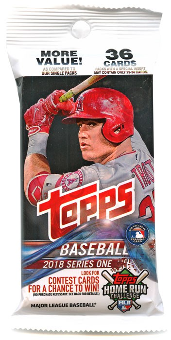 MLB 2018 Baseball Series 1 Trading Card Value Pack by