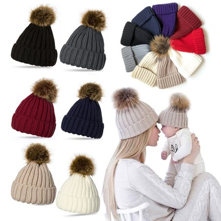 Spencer Kids Bady Braided Pom Pom Knit Beanie Hat Knit Ski Ball Cap Crochet Winter Warm Hat
