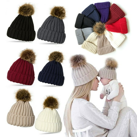 Spencer Kids Bady Braided Pom Pom Knit Beanie Hat Knit Ski Ball Cap Crochet Winter Warm Hat