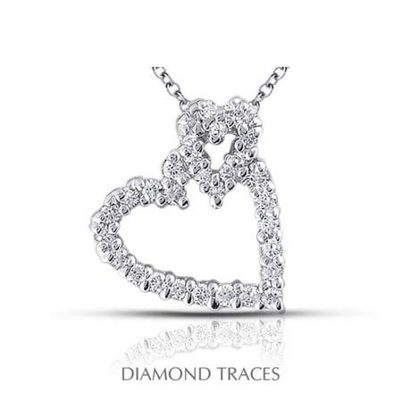 Diamond Traces 0.61 Carat Total Natural Diamonds 18K White Gold Prong Setting Heart Shape Fashion Pendant