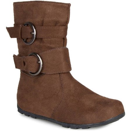 Brinley Co. Girls Buckle Accent Mid-calf Boots - Furry Boots For Girls