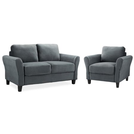 LifeStyle Solutions Mavrick 2 Piece Upholstered Loveseat and Chair Set in Dark Gray 2 Piece Upholstered Seat