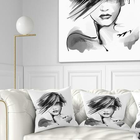 Young Woman Black White' Abstract Portrait Throw Pillow Black White Portraits Women