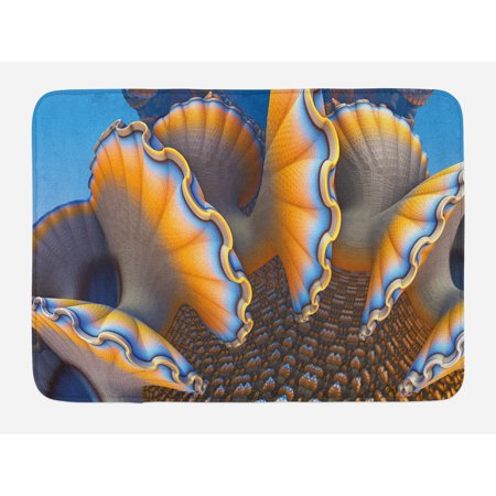 Nautical Bath Mat, Fantastic Shells in the Sea Ocean Sci Fi Style Featured Artistic Graphic, Non-Slip Plush Mat Bathroom Kitchen Laundry Room Decor, 29.5 X 17.5 Inches, Blue and Apricot, Ambesonne