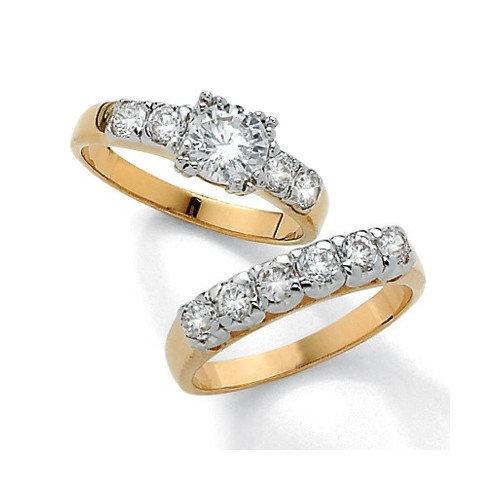 Palm Beach Jewelry Gold Plated Round Cubic Zirconia Wedding Ring 2 Piece Set